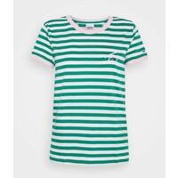 Tommy Jeans LOGO STRIPE RINGER TEE T-shirt z nadrukiem white / midwest green TOB21D093