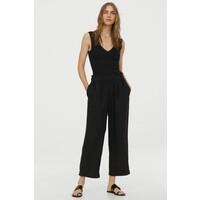 H&M Koszulka w prążki z koronką 0898931001 Czarny