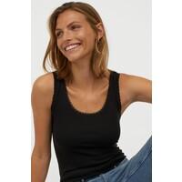 H&M Koszulka z koronką 0572797054 Czarny