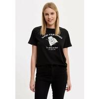 DeFacto T-shirt z nadrukiem black DEZ21E0E5