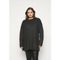 Vero Moda Curve VMBRILLIANT ONECK LONG Sweter black melange VEE21I02A