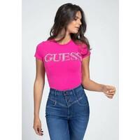 Guess APPLIKATIONEN T-shirt z nadrukiem fuchsia GU121D13V