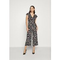 Anna Field OCCASION ALL OVER PRINT SHORT SLEEVES FRONT KNOT JUMPSUIT Kombinezon black/multi-coloured AN621T01R