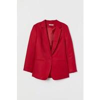 H&M Marynarka z domieszką lnu 0736154001 Czerwony