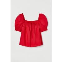 H&M Bawełniana bluzka 0831560002 Czerwony