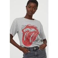 H&M T-shirt z nadrukiem 0896700017 Szary melanż/Rolling Stones