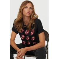 H&M T-shirt z nadrukiem 0896700017 Czarny/The Rolling Stones
