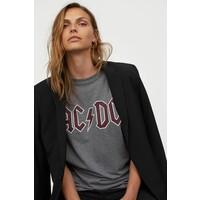 H&M T-shirt z nadrukiem 0896700017 Ciemnoszary melanż/AC/DC