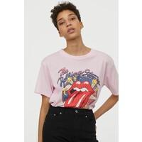 H&M T-shirt z nadrukiem 0896700017 Jasnoróżowy/The Rolling Stones