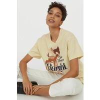 H&M Obszerny T-shirt z nadrukiem 0762558040 Jasnożółty/Bambi
