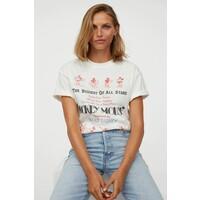 H&M Obszerny T-shirt z nadrukiem 0762558040 Biały/Myszka Miki