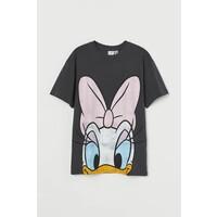 H&M Obszerny T-shirt z nadrukiem 0762558040 Ciemnoszary/Kaczka Daisy