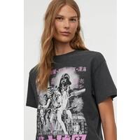 H&M Obszerny T-shirt z nadrukiem 0762558040 Ciemnoszary/Gwiezdne wojny