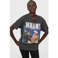 H&M Obszerny T-shirt z nadrukiem 0762558040 Ciemnoszary/Wham!