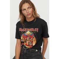 H&M Obszerny T-shirt z nadrukiem 0762558040 Czarny/Iron Maiden