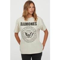 H&M Obszerny T-shirt z nadrukiem 0762558040 Jasnobeżowy/Ramones
