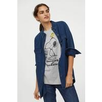 H&M Obszerny T-shirt z nadrukiem 0762558040 Jasnoszary melanż/Snoopy