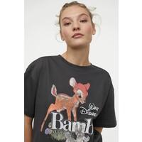 H&M Obszerny T-shirt z nadrukiem 0762558040 Ciemnoszary/Bambi