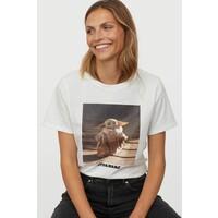 H&M T-shirt z motywem 0762470172 Biały/Gwiezdne wojny