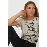 H&M T-shirt z motywem 0762470172 Jasnobeżowy/Bambi