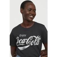 H&M T-shirt z motywem 0762470172 Ciemnoszary/Coca-Cola