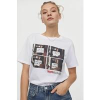 H&M T-shirt z motywem 0762470172 Biały/To właśnie miłość