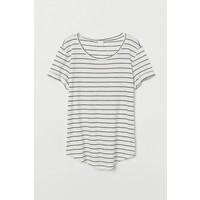 H&M T-shirt z okrągłym dekoltem 0554598057 Biały/Czarne paski