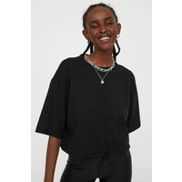 H&M T-shirt ze sznurkiem 0871281005 Czarny