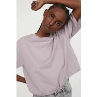 H&M T-shirt ze sznurkiem 0871281005 Jasnofioletowy
