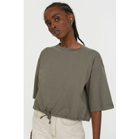 H&M T-shirt ze sznurkiem 0871281005 Zieleń khaki