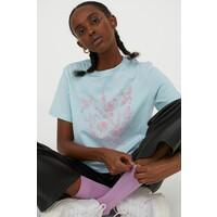 H&M T-shirt z nadrukiem 0922205005 Jasnoniebieski/Kwiaty