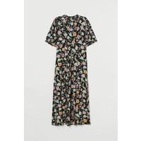 H&M Dżersejowa sukienka do łydki 0919257001 Czarny/Kwiaty