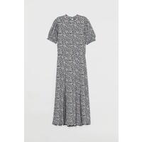 H&M Dżersejowa sukienka do łydki 0919257001 Czarny/Drobne kwiaty