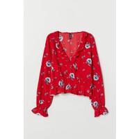 H&M Bluzka z falbanami 0694127001 Czerwony/Kwiaty