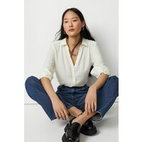 H&M Bluzka z dekoltem w serek 0939703002 Biały