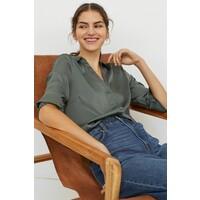 H&M Bluzka z dekoltem w serek 0939703002 Ciemna szałwiowa zieleń