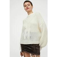 H&M Sweter w warkoczowy splot 0914948003 Kremowy