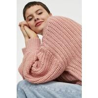 H&M Sweter w warkoczowy splot 0914948003 Różowy