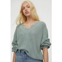 H&M Sweter z koronką 0879088001 Jasnoturkusowy