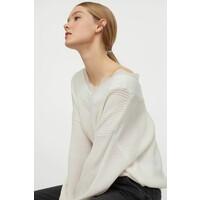 H&M Sweter z koronką 0879088001 Biały