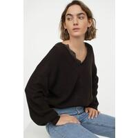 H&M Sweter z koronką 0879088001 Czarny
