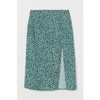 H&M Spódnica z długimi rozcięciami 0842062002 Zielony/Białe kwiaty