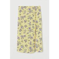 H&M Spódnica z długimi rozcięciami 0842062002 Jasnożółty/Kwiaty