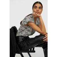 H&M Bluzka ze szczypankami 0872378001 Kremowy/Czarny wzór