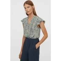 H&M Bluzka ze szczypankami 0872378001 Szałwiowa zieleń/Wzór