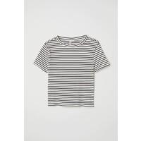 H&M Top w prążki 0624486090 Biały/Paski
