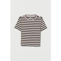 H&M Top w prążki 0624486090 Biały/Wielobarwne paski