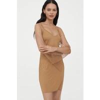 H&M Sukienka ze strassem 0938161001 Ciemnobeżowy