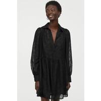 H&M Sukienka z bufiastym rękawem 0921757003 Czarny
