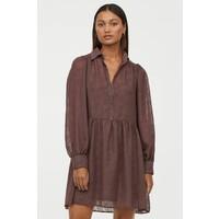 H&M Sukienka z bufiastym rękawem 0921757003 Ciemnofioletowy